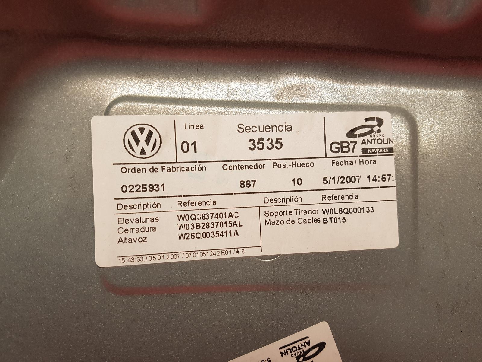 View Auto part LF Window Regulator Volkswagen Polo 2007